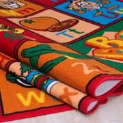 Allstar Kids / Baby Room Area Rug  Learn ABC / Alphabet Letters with Fruits  Bright Colorful Vibrant Colors (4' 11