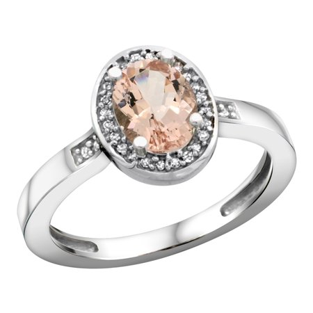 Sterling Silver Diamond Natural Morganite Ring Oval 7x5mm, 1/2 inch wide, sizes 5-10