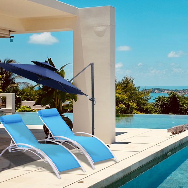 ainfox set of 2 patio lounge chairs adjustable chaise lounges recliner for patio garden backyard beach poolside blue