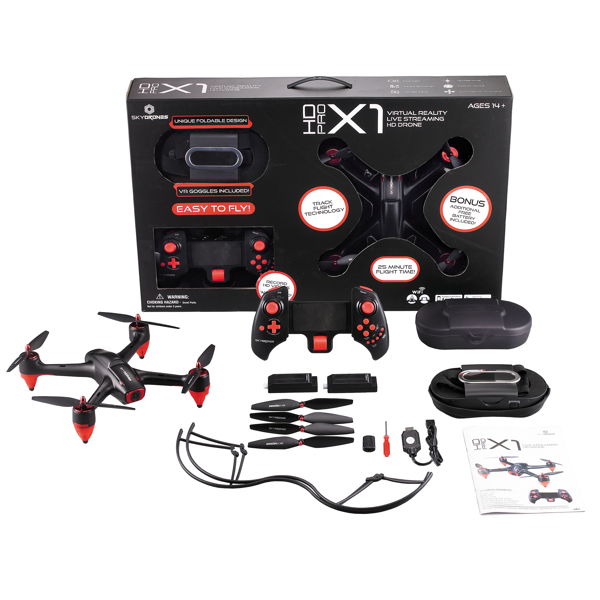 SkyDrones HD Pro X1 HD Virtual Reality Live Streaming Drone (Color May Vary) by Braha Industries Inc