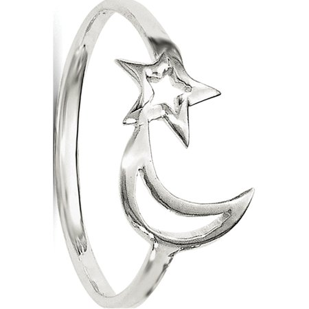 Sterling Silver Polished Star & Moon Ring - image 3 of 3