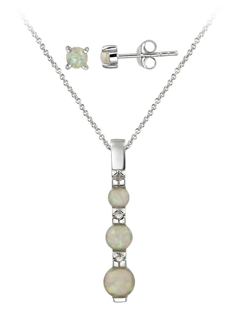 Sterling Silver Created Opal and Diamond Accent Jewelry Set
