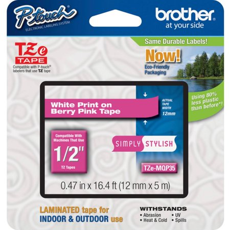 Johnson Brothers Berries - Brother TZe-MQP35 White on Berry Pink Label Tape - 0.47