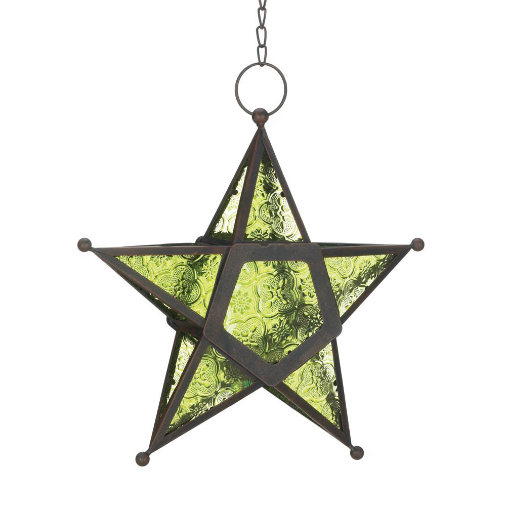 Green Star Lantern, Decorative Large Star Lantern With Light Glass Decor Outdoor
