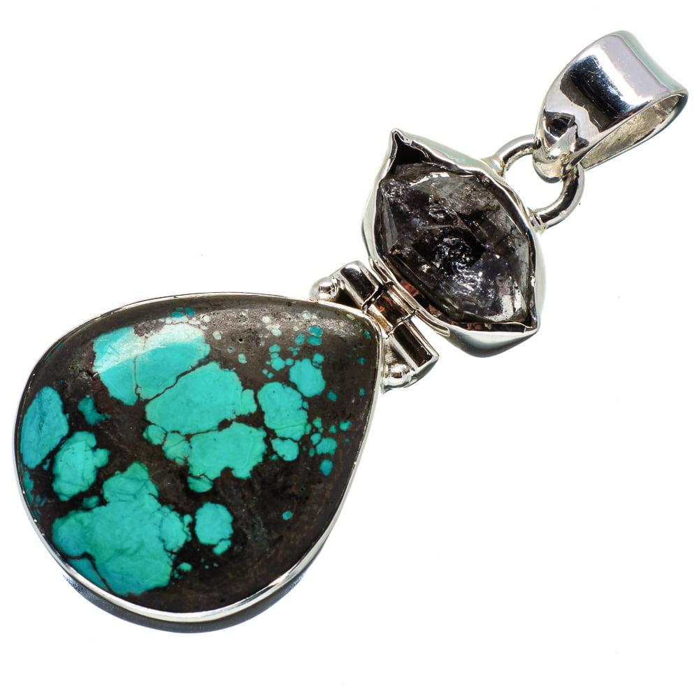 "Ana Silver Co Tibetan Turquoise, Herkimer Diamond Pendant 1 7/8"" (925 Sterling Silver) - Handmade Jewelry PD641872"