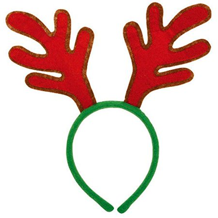 Amscan Fun-Filled Christmas & Holiday Party Value Reindeer Antler Headband, Red/Green, 10