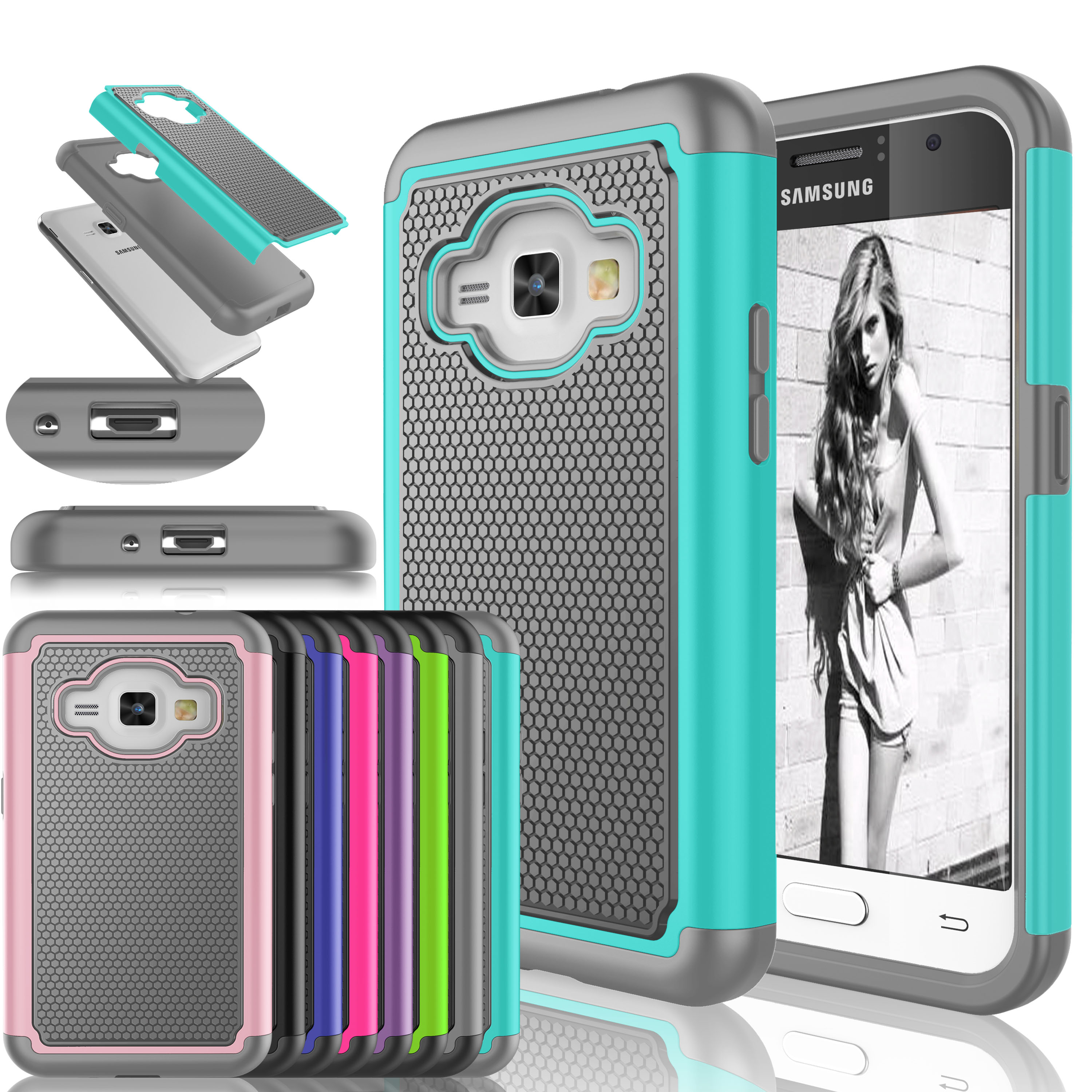 Galaxy J1 2016 Case,Galaxy luna Case, Galaxy Express 3 Case,[Turquoise] Shock Absorbing Rubber Plastic Defender Case Cover For Samsung Galaxy J1/J120/Amp 2/Express 3 /luna