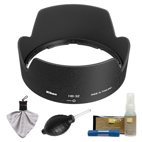 Nikon HB-32 Bayonet Lens Hood for Nikon 18-135mm, 18-105mm, 18-140mm VR DX Zoom-Nikkor + Cleaning Kit (with D3100, D320, D5100, D5200, D7000 & D7100 Digital SLR Camera)