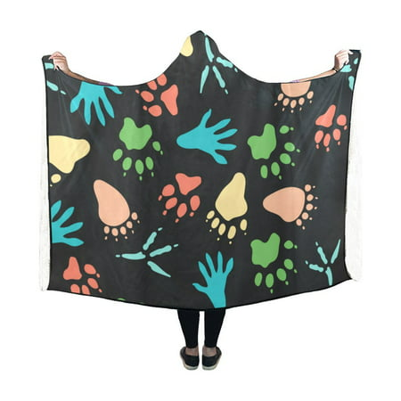 HATIART Hooded Throw Wrap Colorful Tracks Paw Prints Wearable Hooded Blanket 50x60 Inch Comfortable Softness Robe - image 1 of 3