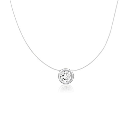 Floating Illusion Silver Round 7mm White CZ Solitaire Pendant on Clear Invisible Necklace - 18'