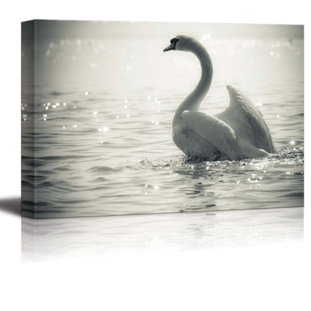 "wall26 Canvas Prints Wall Art - Graceful Swan on a Lake in Black and White | Modern Wall Decor/Home Decoration Stretched Gallery Canvas Wrap Giclee Print. Ready to Hang - 32"" x 48"""