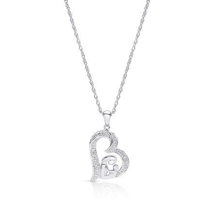 Sterling Silver Diamond Accent Mom and Child Pendant Necklace Diamond Mom Necklace