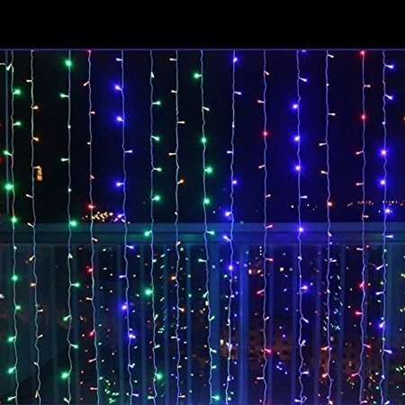 Image of 300 LED Curtain Lights Starry Christmas Starry Christmas String Light, Indoor Decoration for Festival Wedding Party Living Room Bedroom, 3Mx3M