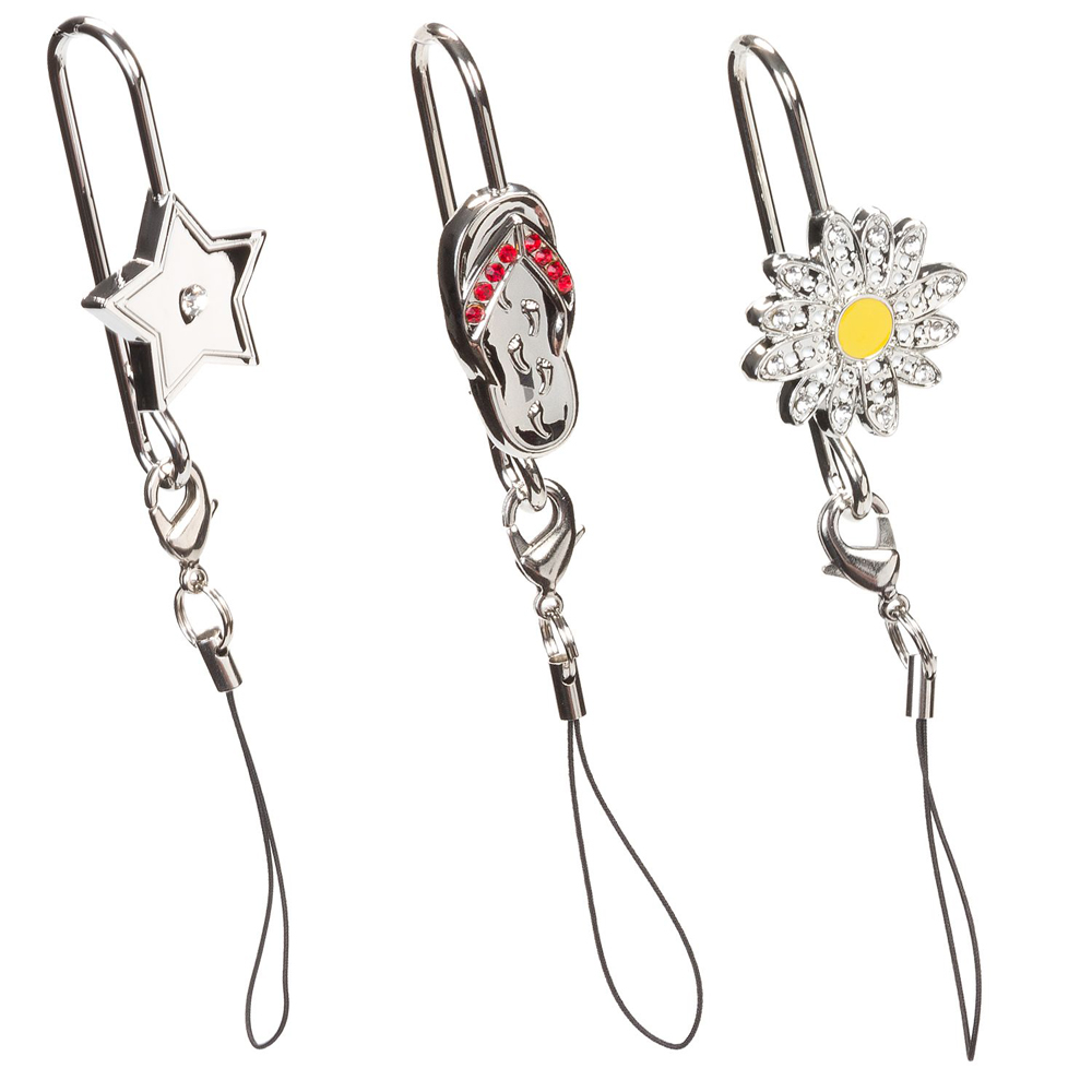 3 Cell Phone Hooks Hanger Clip Charms Crystal Finders