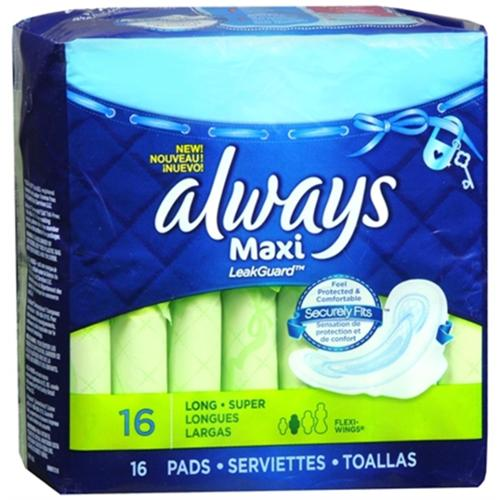 Always Maxi Pads Long Super Flexi-Wings 16 Each (Pack of 4)