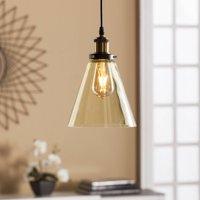 Southern Enterprises Tarigone Mini Pendant Lamp with Amber Colored Glass