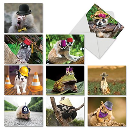 'M6470TYG CAPPED CREATURES' 10 Assorted Thank You Cards Featuring Sweet and Sassy Animals Showing Off Their Stylish Chapeaus with Envelopes by The Best Card