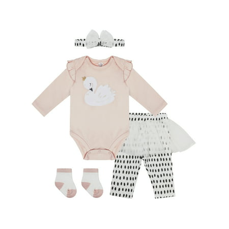 PL Baby Interlock Bodysuit, Skegging, Headband, & Socks, 4pc Outfit Set (Baby Girls) (Baby Layette Socks)