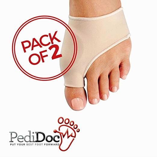 PediDocTM Bunion Corrector and Bunion Relief Sleeve with Gel Pad Cushion Bunion Protector - Protection and Treatment for Hallux Valgus Bunion Pain (1 Pair)