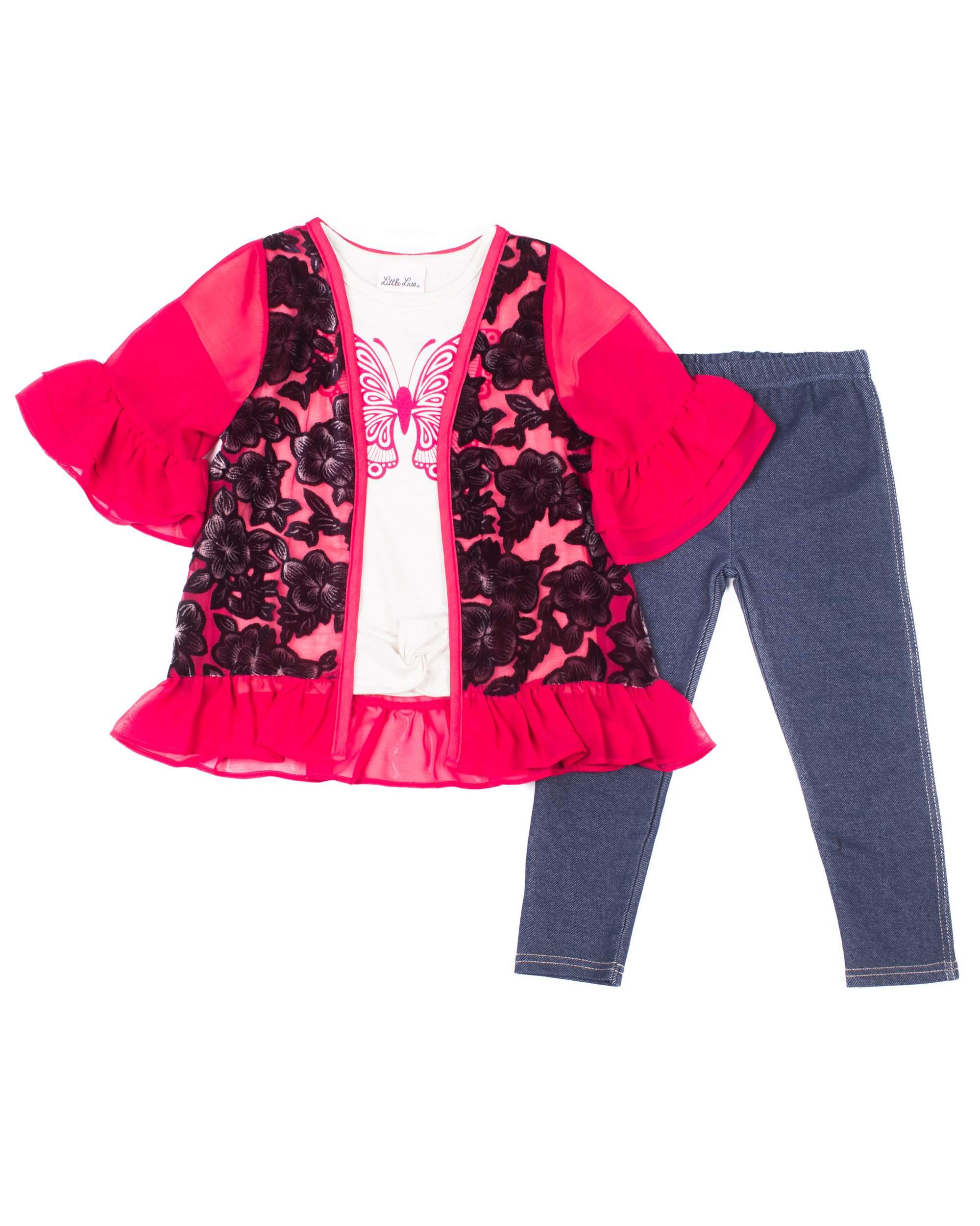 Little Lass Short Sleeve Velvet Burnout Kimono, Short Sleeve T-shirt & Knit Denim Jeans, 3pc Outfit Set (Toddler Girls)