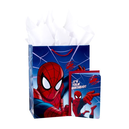 Hallmark, Spider-Man, Large Birthday Gift Bag with Card and Tissue Paper - Large Paper Bags