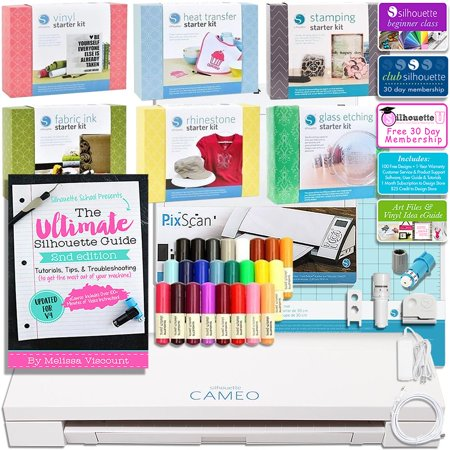 Silhouette Cameo 3 Bluetooth Mega Bundle With Kits  Guide  Sketch Pens  Class And More