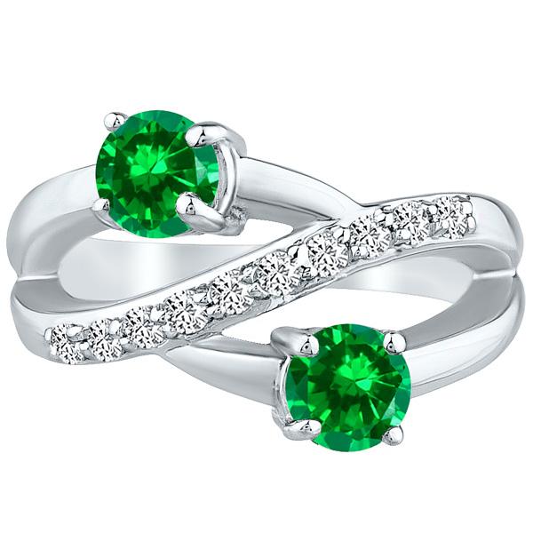 Round Twist Ring cr Emerald & Diamond Band Wedding .14k White Gold 1.50 tcw
