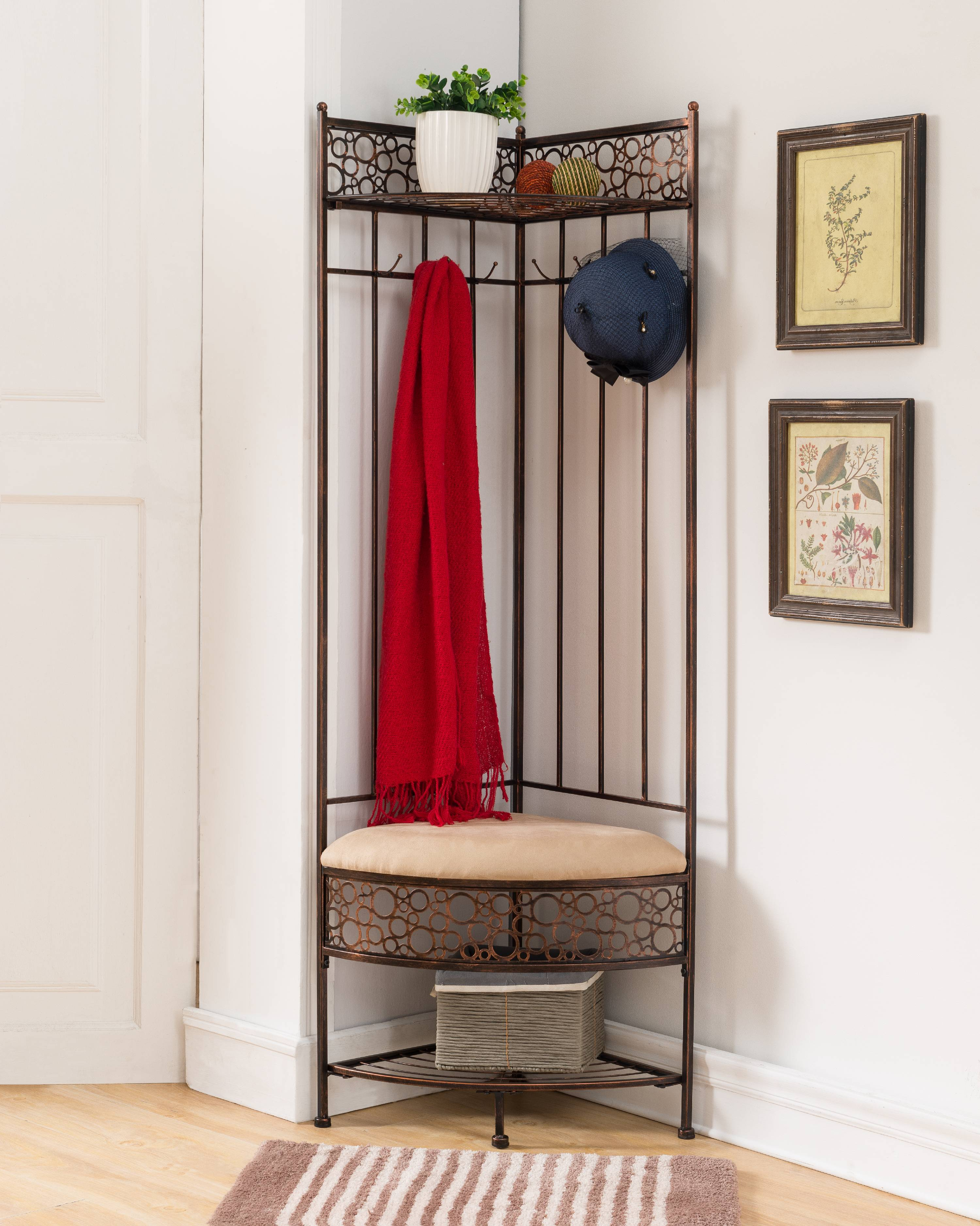 Crespin Copper Metal Corner Entryway Hallway Storage Bench Hall Tree Coat  Rack