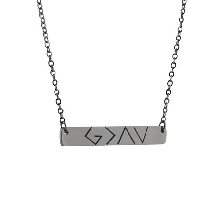 God is Greater Than the Highs and Lows - Symbol Bar Necklace - Stainless