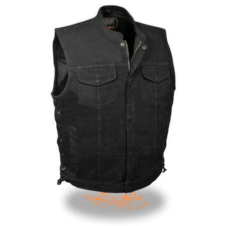 Milwaukee Leather Men's Side Lace Denim Club Vest w/ Hidden Zipper