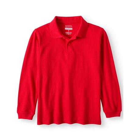 87945f3d George - Boys School Uniforms Long Sleeve Pique Polo Shirt - Walmart.com