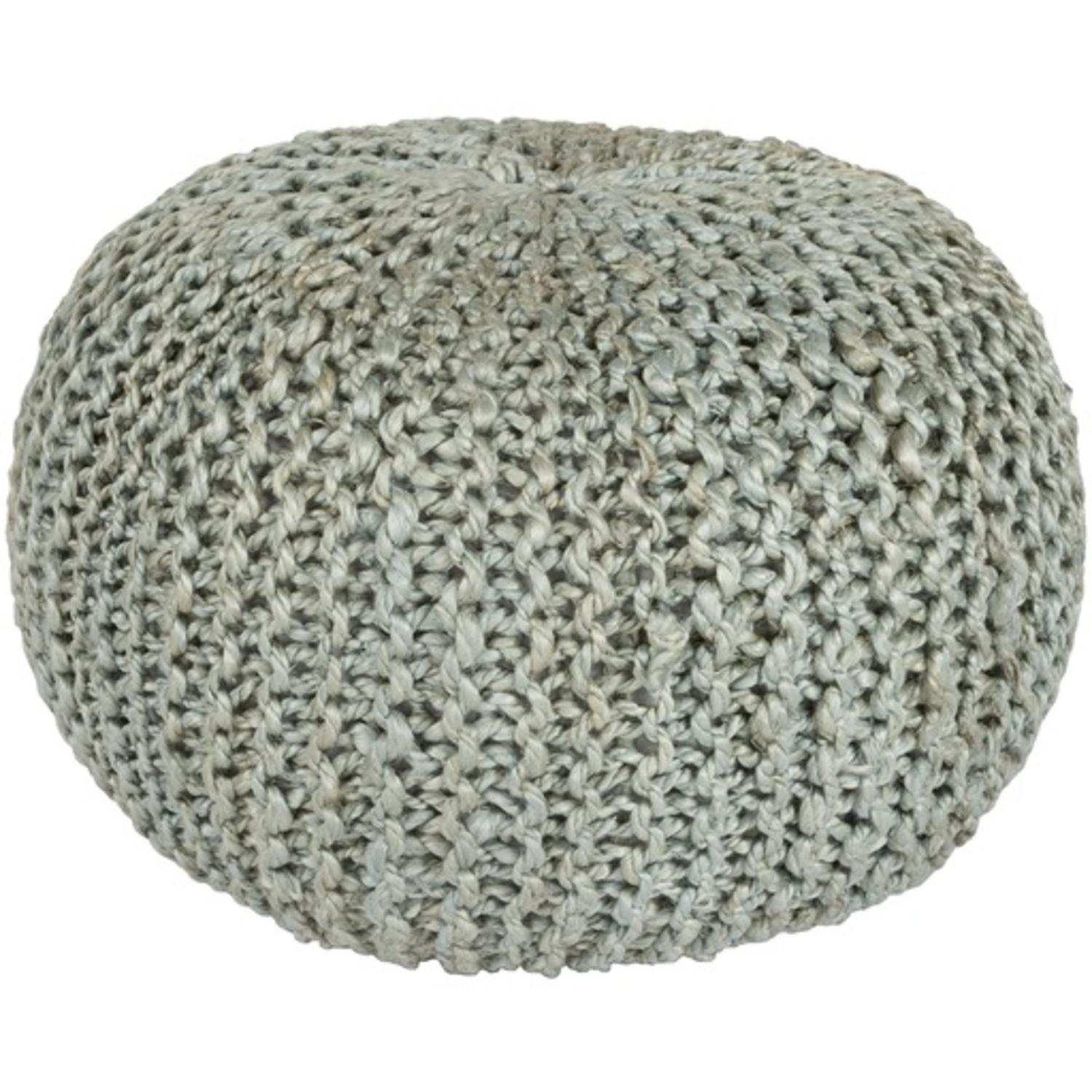 "20"" x 14"" Intricate Detail Dove Gray Hand Crafted Jute Round Pouf Ottoman"