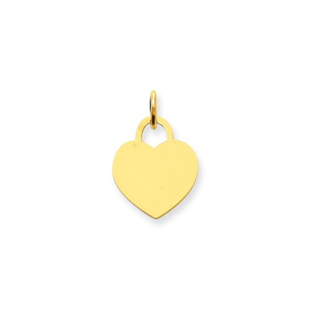 14k Yellow Gold Small Engravable Heart Pendant Charm Necklace Disc Designer Shaped Gifts For Women For Her