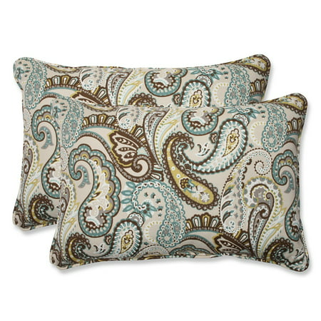 Light Blue And Brown Decorative Pillows : Set of 2 Paisley Giardino Light Blue and Brown Outdoor Corded Throw Pillows 24.5