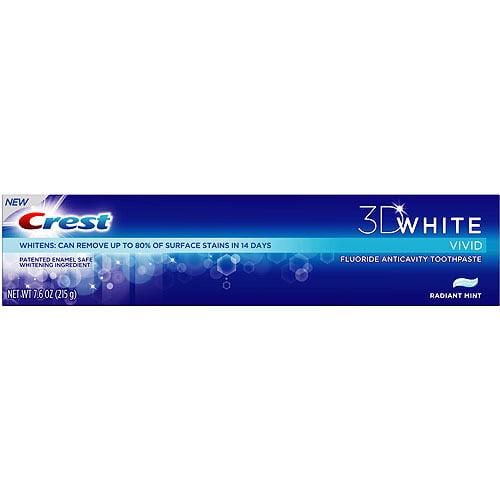 Crest 3D White Vivid Toothpaste, Radiant Mint, 7.6 oz