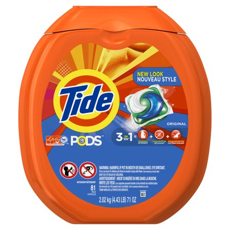 Tide PODS Original Scent HE Turbo Laundry Detergent Pacs, 81 Count - Roll Tide Colors