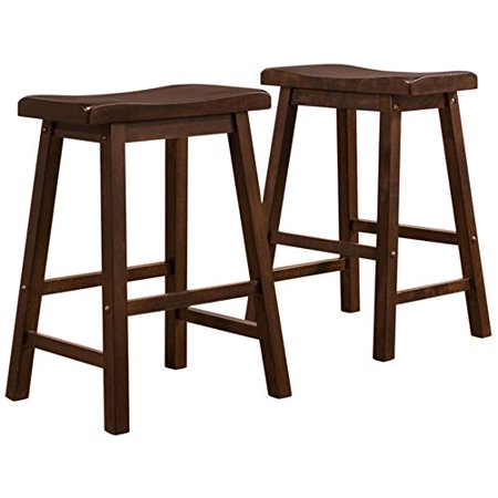 ModHaus Living Set of 2 Dark Wood Country Style Saddle Back Solid Wood Bar Stool - Counter Height Includes (TM) Pen (Dark Wood) Country Style Solid Wood