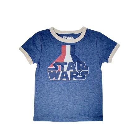 Star Wars Logo Boys Toddler Red White Blue Ringer Short Sleeve T-Shirt Blue Kids Ringer T-shirt