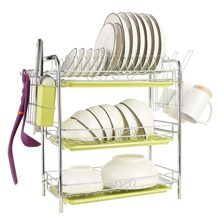 ODOLAND 3 Tiers Dish Drying Rack 3 Tier Chrome Dish Drainer Rack Kitchen Storage with draining board and Cutlery Cup 22.04 x 9.05 x 18.50 IN