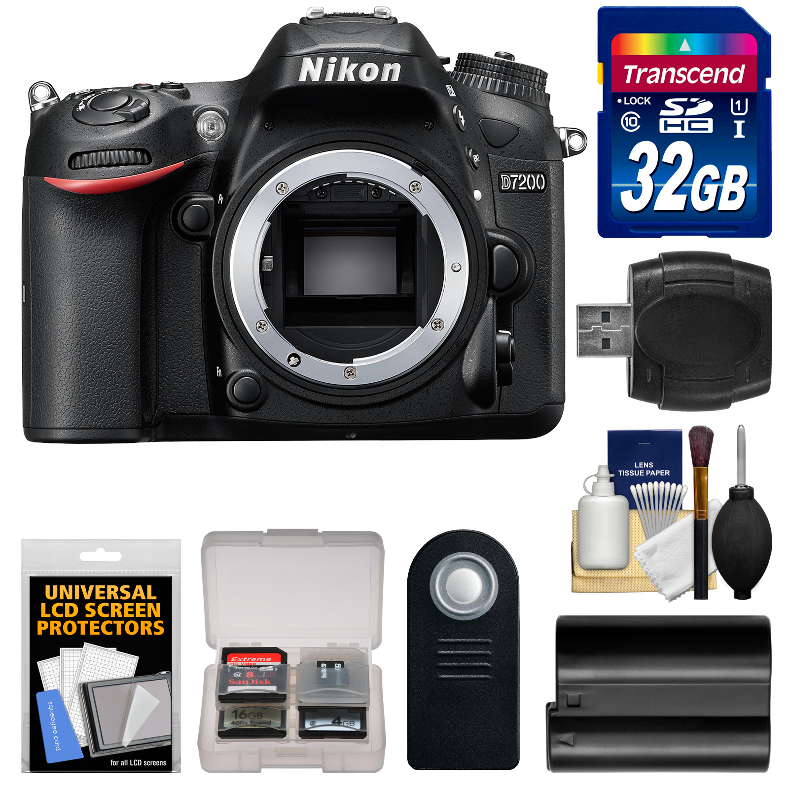 Nikon D7200 Wi-Fi Digital SLR Camera Body - Factory Refurbished with 32GB Card + Battery + Remote + Reader + Kit