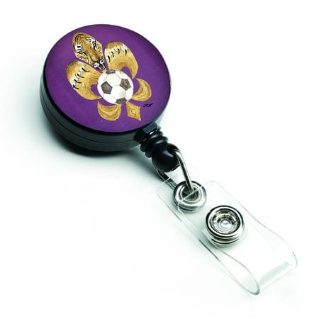 Tiger Fleur de lis Soccer Retractable Badge Reel 8477BR