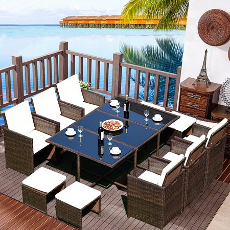 Costway 11 PCS Outdoor Patio Dining Set Metal Rattan Wicker Furniture Garden Cushioned ()