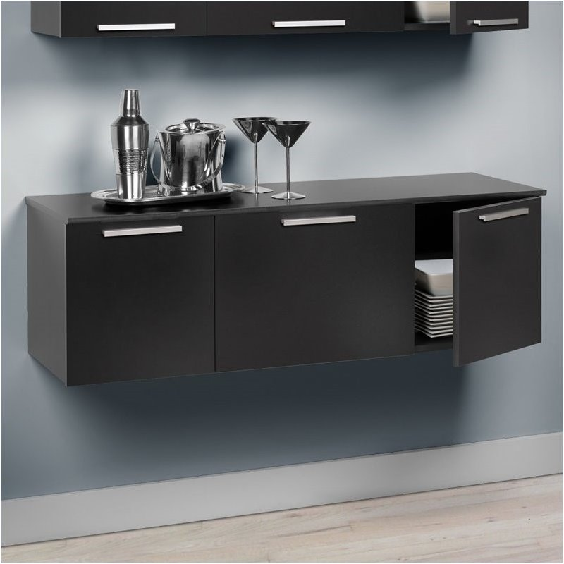 Bowery Hill Wall Mounted Buffet in Black