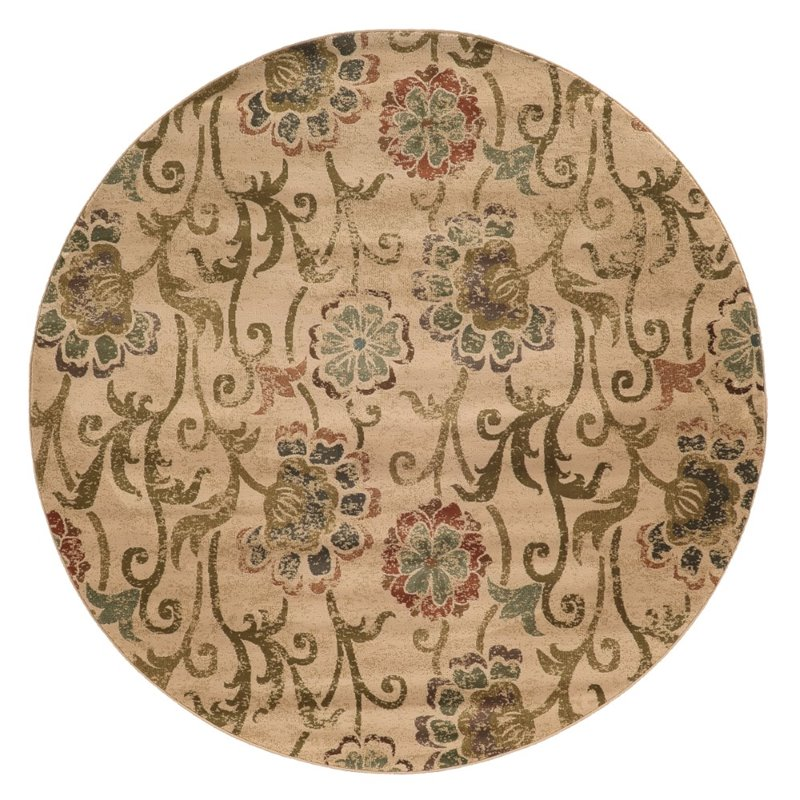 Sphinx Hudson Area Rugs - 4877B Transitional Casual Ivory Vines Leaves Flowers Scrolls Rug
