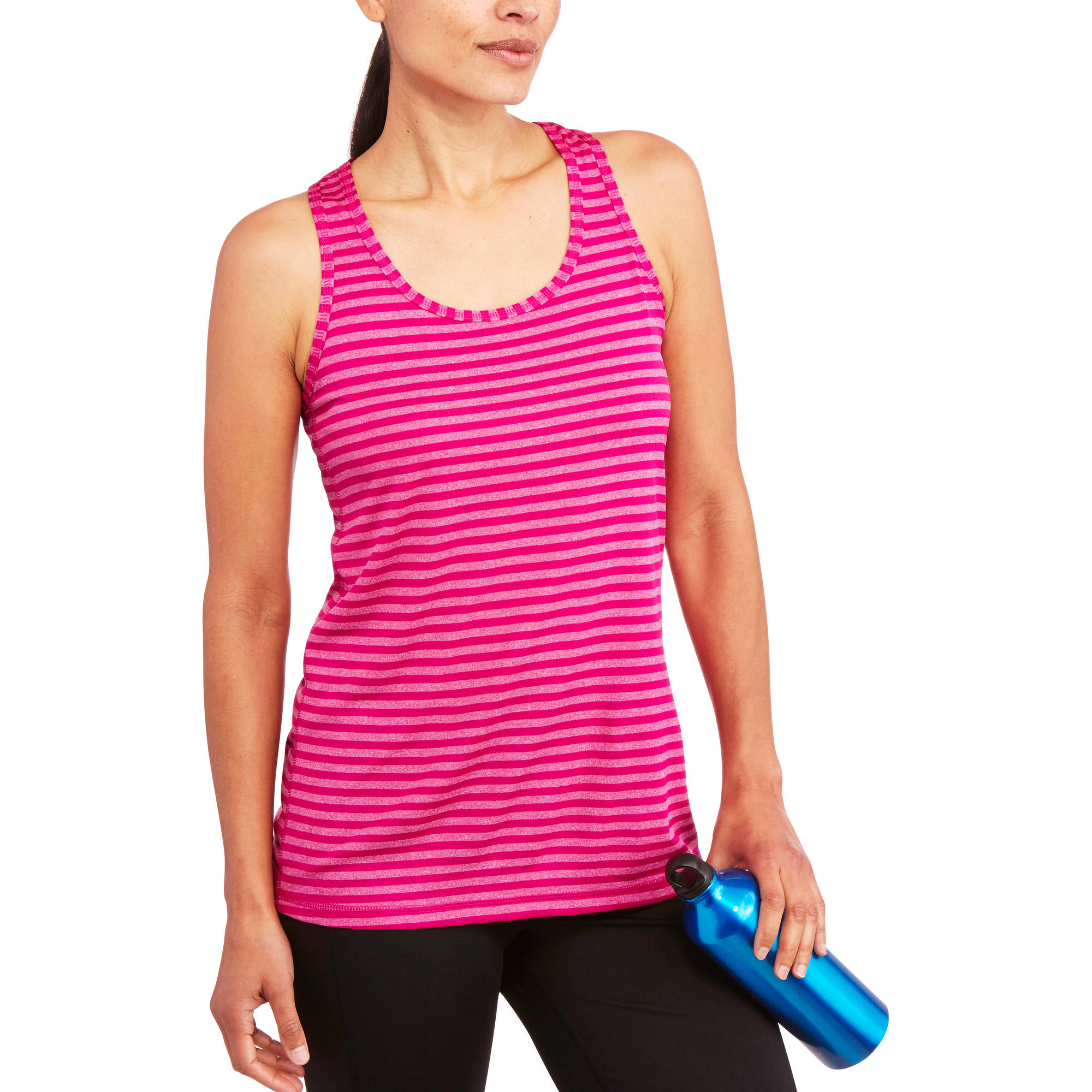 Danskin Now Women's Stripe Scoop Neck Tank with Mesh