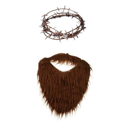 Fake Brown Beard With Plastic Crown of Thorns Biblical Play Costume - Fake Short Beard