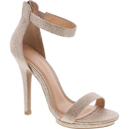 static footwear womens open toe ankle strap high stiletto heel platform pump sandal,gold glitter,10 Gold High Heel Sandals