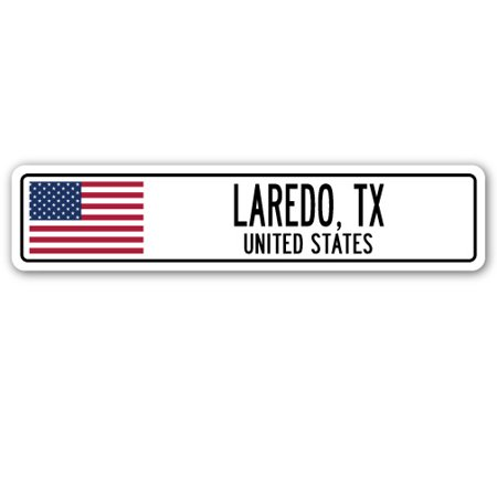 LAREDO, TX, UNITED STATES Street Sign American flag city country   gift