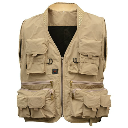 Quick View Poly Jackets - Men's Multi Pocket Fishing Vest Breathable Quick Dry Sleeveless Mesh Jacket for Outdoor Sports Color:Khaki Size:XXXL