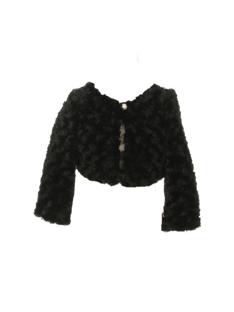kids dream little girls black faux fur long sleeve pearl bolero jacket 2t